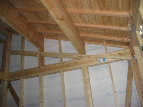 2F子供室勾配天井下地