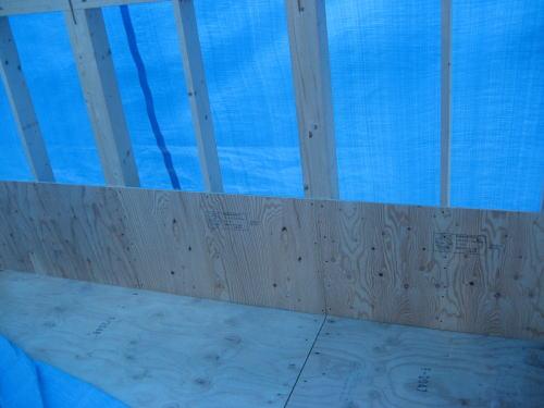 ベランダ防水下地構造用合板貼り