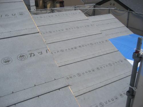 大屋根ルーフィング貼り状況