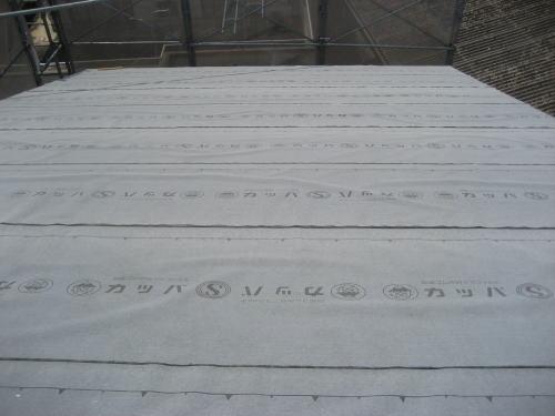 大屋根ルーフィング貼り状況(西面)
