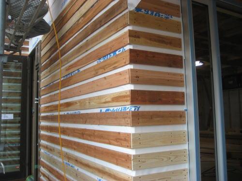 外部外壁ラス板貼り工事(1F西面)