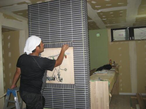 建物内部タイル貼り工事