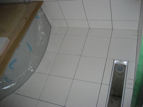 浴室床タイル貼り工事